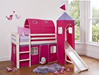 Cabin Bed Mid Sleeper Whitewashed Pink Princess with Tower ,Tunnel & Tent 6970WW-PINK