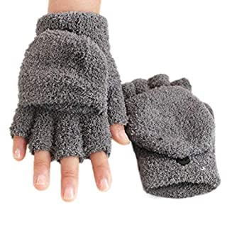 JAGENIE pour Femme Hiver Chaud Mitaines en Polaire Flip Casquette Gants moitié Moufles Button, Polaire Anti-Boulochage, Gris, Reference Picture Or Product Description