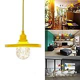 GreenSun E27 Silikon Faltbare Lampenschirm φ24cm Fassung Lampenfassung DIY Beleuchtung Lampenfuss mit 1M 2-adrige Kabel für Leuchtmittel Pendelleuchte, Gelb
