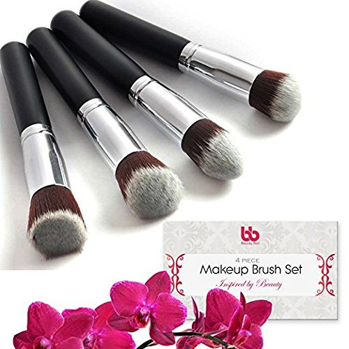 Lot Bon Pinceaux de maquillage professionnels, DE Beauté, 4 pièces, avec poignées en plastique, végétalien, Kabuki brosses plates pour Mixer, la mise en Évidence et souligner