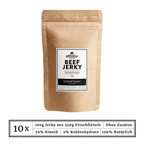 Beef Jerky • Aus Deutschland • Trockenfleisch vom Rind im Set • Cracked Pepper • >70% Eiweiß (10 x 100g = 1kg)