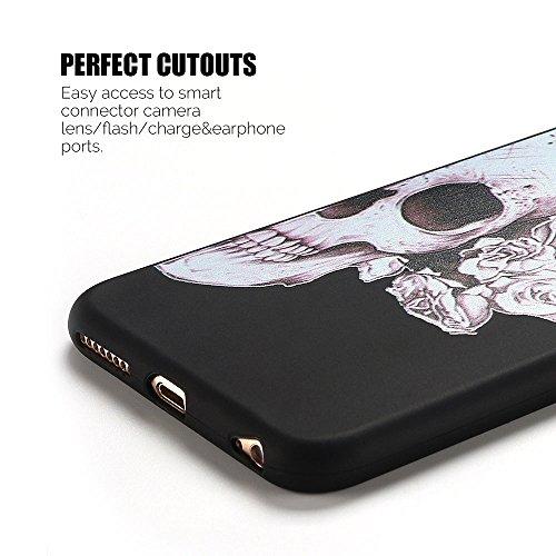Coque iPhone 6S , Etui iPhone 6 TPU Case Silicone Transparente Slim Souple Étui de Protection Flexible Soft Cover avec Motif Spécial Anti Choc Ultra Mince Integrale Couverture Bumper Caoutchouc Gel An Squelette 2
