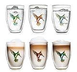 Creano doppelwandige Tee-Gläser, Cappuccino-Glas, Thermoglas Hummi im Kolibri Design, 6er Set, 250 ml in exklusiver Geschenkbox, blau / rot / grün