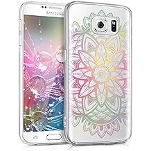 kwmobile Funda transparente para Samsung Galaxy S6 / S6 Duos con diseño IMD y marco de silicona TPU con parte trasera de plástico - funda blanda para móvil carcasa protectora bumper Diseño Girasol