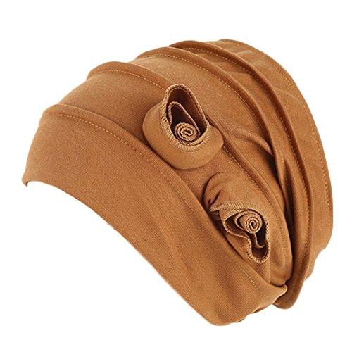 LHWY Mujeres Musulmanas Estiramiento Turbante Sombrero De Quimioterapia Cap PéRdida Del Cabello Cabeza Bufanda Envoltura Hijib Cap (Caqui)