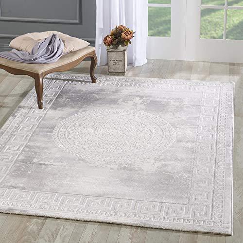 mynes Home Designer Teppich in Hellgrau Creme Modern Orientalisches Muster Medaillon Versace MY3213 (200x280cm) -