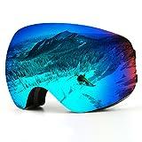 Skibrille, Over Glasses Snowboardbrillen für Männer, Frauen, Jugendliche oder Kinder - UV400 Schutz und Anti-Fog - Double Grey Sphärische Linse bequem zum Skaten Skifahren Schneemobile (schwarz-Erwachsene-VLT 6.2%)