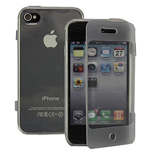 VComp-Shop® Silikon Handy Schutzhülle mit Klappe für Apple iPhone 4/ 4S/ 4G + Großer Eingabestift - TRANSPARENT TRANSPARENT