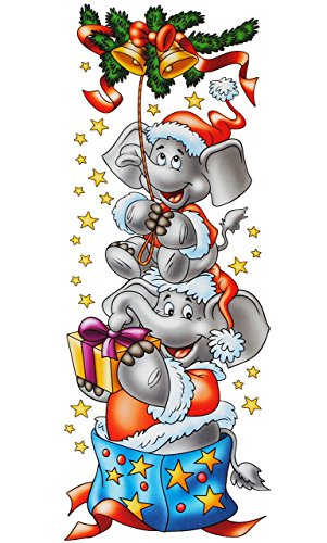 LANGES Fensterbild / Bordüre - ' Elefanten und Geschenke ' - statisch haftend - Borte - selbstklebend + wiederverwendbar / Weihnachten - Sticker...