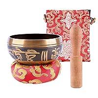 Geboor Tibetan Singing Bowl Set, 8cm Buddhism Singing Bowl for Prayer, Yoga, Mindfulness Meditation, Relaxation, Stress & Anxiety Relief, Chakra Healing