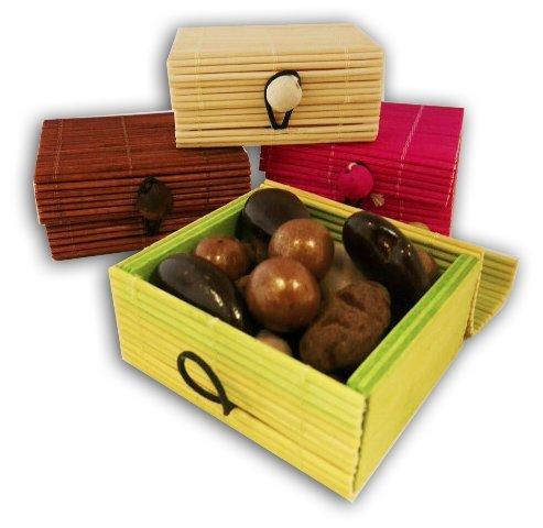 CHOCOLAT DE NOEL - lot de 4 COFFRETS CONVIVE bambou DECORATION DE TABLE DE NOEL - MARQUE PLACE - CHOCOLAT ARTISANAL - CHOCOLAT DE NOEL - COFFRET CADEAU CHOCOLAT DE NOEL - COFFRET GOURMAND - BOITE DE CHOCOLAT