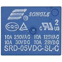 heschen PC Junta relé SRD-05VDC-SL-C DC 5V bobina SPDT 10A 250VAC 5pin terminales 2unidades