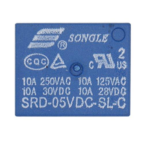 Heschen - PC-Relais, SRD-05VDC-SL-C DC, 5V, Spule SPDT, 10A, 250VAC, 5-poliges Terminal, 2er-Packung