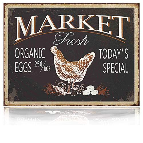 M-Mount Halter Designs Markt Fresh Tin Signs Schild Vintage Bar Eier Retro Garage Country Home Wand-Decor Innen Metall Kaffee Art Poster 20,3x 30,5cm - Land Alten Eisen Anhänger