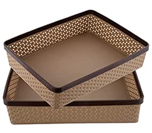 Kuber Industries Plastic 2 Pieces Solitaire Stationary Office Tray, File Tray, Document Tray, Paper Tray A4 Documents/Papers/Letters/folders Holder Desk Organizer (Coffee)- CTKTC043765
