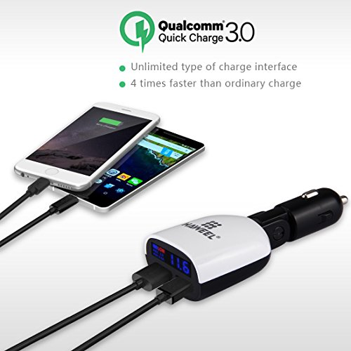 Dual USB Car Charger, HAWEEL 2-Port USB Car Charger Max 3.4A with LED Screen and Voltage Monitor for iPhone, Samsung, Huawei, Blackburry, LG, Sony, Lenovo, ZTE and More
