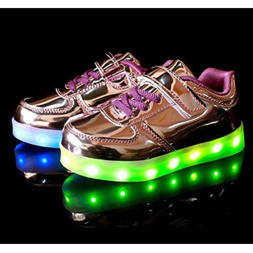 SAGUARO® Jungen Mädchen Turnschuhe USB Lade Flashing Schuhe Kinder LED leuchtende Schuhe mit farbigen Schnürsenkel Lila