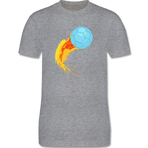 Handball - Burning ball - Herren Premium T-Shirt Grau Meliert