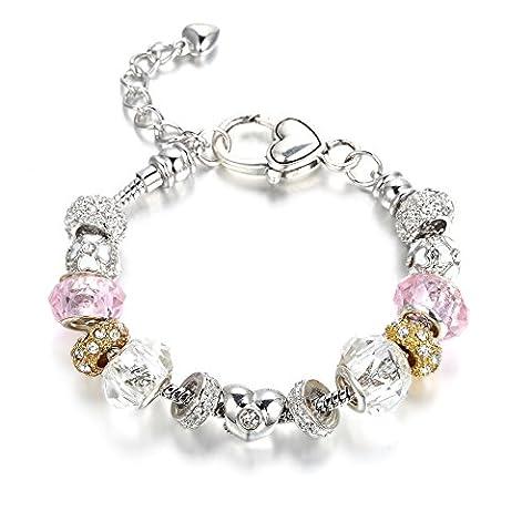 Bracelet Blue Pearls - Bracelet Charm's Rose Clair Cristal de Swarovski