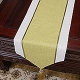 FJH Gonne per tavolo Corridore di tabella di tela di cotone elegante semplice Tavolo da pranzo di colore solido verde d'annata Tovaglia Tovaglia Soggiorno Cucina Ristorante Hotel Decorazione della cas