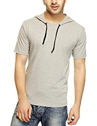 Gritstones Grey MELANGE HOODED T-SHIRT Half Sleeves ROUND NECK