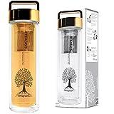 amapodo Teeflasche mit Sieb und Deckel Farbe in gold, Teebereiter Tee-Glas to go 400ml BPA-frei