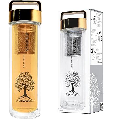 amapodo Teekanne, Teeflasche mit Sieb und Deckel, Gold, Geschenk, Glas Trinkflasche 400ml - Wand-glas-tee-reise-becher