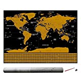 Kbsin212 - Póster de Mapa del Mundo para rascar, diseño de Mapa de Turismo Nacional de Alta definición con Bandera Nacional, Color Negro y Dorado