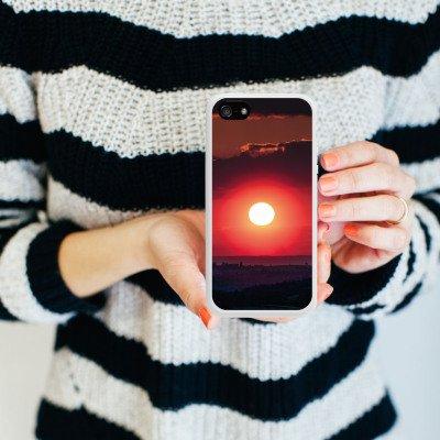 Apple iPhone 4 Housse Étui Silicone Coque Protection Coucher de soleil Paysage Romantisme Housse en silicone blanc