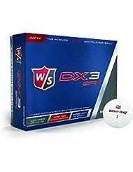 Wilson Staff, Bola de golf muy blanda, 3 capas, Hombre, Para máxima distancia, Pack de 12, Varios tipos de juego, Compresión 35, Multicapa, DX3 Spin, Blanco, WGWP37400