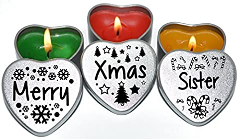 Merry Christmas Sister Xmas Gift. Set of 3 Silver Mini Heart Tin Tealight Style Scented Candles. Perfect Christmas Gift Secret Santa and Christmas Place Settings. Each tin is