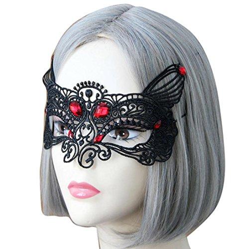 Stadt Party Mädchen Für Halloween Kostüme (WOCACHI Party Masken Reizvolle elegante Halloween Spitze Augen Gesichtsmaske für Maskerade Ball Karneval Fantasie Party (23-28CM,)