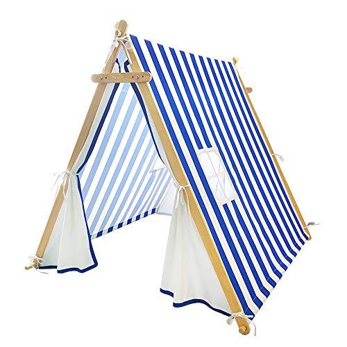 Mogicry Moderne Simple Enfant Tente Stripe Jeu House Nordic Ins Intérieur Extérieur Pin Décoration Tipi Garçon Fille Bébé Ménage Split Lit Cadeau Endormi pour Enfants 1+ (140 * 120 * 127cm)