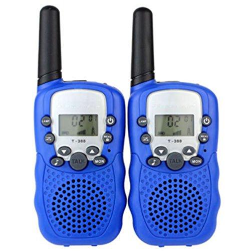 Hibote 2x Mini Talkie Walkie pour enfants amateur T-388 7 km UHF enfants Tow-Way Radio Bleu