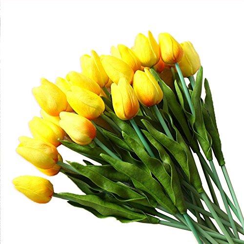 20 Stücke JUYUAN-EU Tulip Blumen mit Blumen Dekorieren Künstliche Blumen Latex Real Touch Hochzeit Brautstrauß Home Decor Gelb (Real Touch Blumen Brautstrauß)