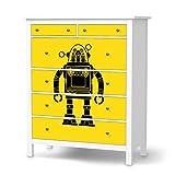 creatisto Möbelfolie Kinder-Möbel für IKEA Hemnes Kommode 6 Schubladen | Klebesticker Aufkleber Folie Deko-Folie | Ideen für IKEA Möbelfolie Kinder Kindertapeten | Kids Kinder Retro Robot