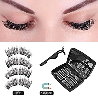 Magnetic Eyelashes False Eyelashes 3D Eyelashes Natural Appearance and Eyelashes 4 Magnets Ultra-thin Reusable Magnetic False Eyelashes (2 Pair / 8 Pieces)