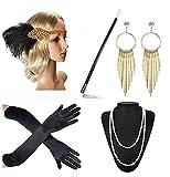 Beelittle 1920er Jahre Zubehör Set Flapper Stirnband, Halskette, Handschuhe, Zigarettenspitze Great Gatsby Zubehör für Frauen (F4)