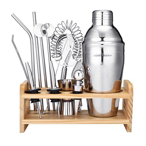 Godmorn Set da cocktail, Accessori da Cocktail in Acciaio Inox 13 Pezzi, Shaker 550ml, Colino Hawthorne, Misurino in Acciaio Inossidabile e Cornice in Legno, 20 Opuscolo Ricetta Cocktail