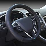 #4: NIKAVI Microfiber Leather Auto Car Steering Wheel Cover Universal 15 inch (BLACK)