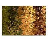 120x80cm Leinwandbild auf Keilrahmen Hintergrund Kunst abstrakt Pixel grün braun gelb Wandbild auf Leinwand als Panorama