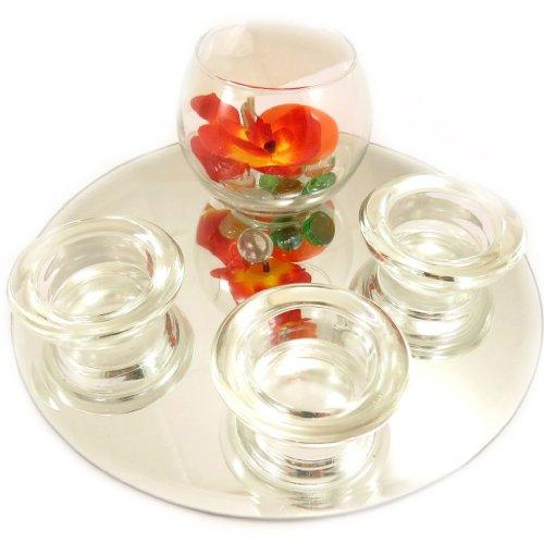 "Set velas flotantes espejo ""Belle De Soie""(naranja)."