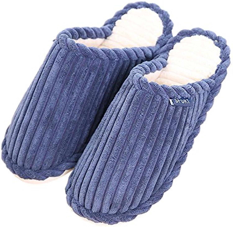 Rojeam Frauen Plüsch Hause Hausschuhe Innen Gestrickte Anti-Slip Hausschuhe mit Farbe Streifen Winter Hausschuhe