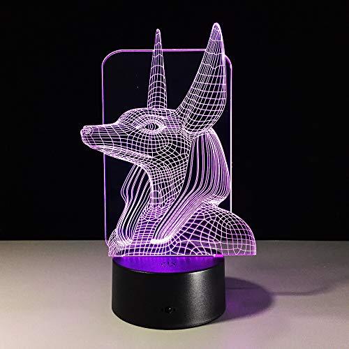 7 Farben Ändern Ägypten Anubis 3D Bulbing Lampe Illusion Farben Ändern Schreibtisch Licht Mit Schwarz Touch Base Decor Nachtlicht