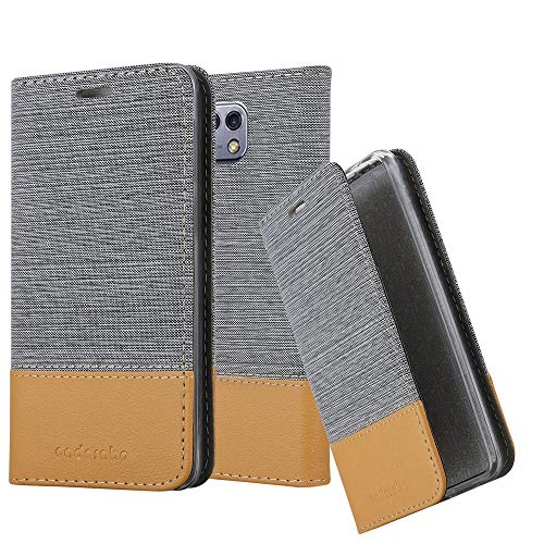 Cadorabo Hülle für LG X CAM - Hülle in HELL GRAU BRAUN - Handyhülle mit Standfunktion & Kartenfach im Stoff Design - Case Cover Schutzhülle Etui Tasche Book