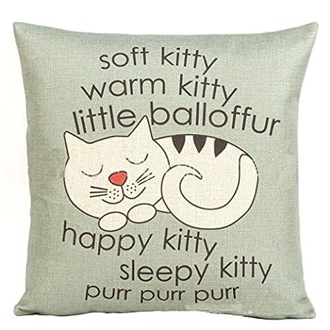 Nette Kitty Pattern Kissenbezug Happy Sleepy Kitty Print Katze Kissenbezug Kissen Sofa Dekorative Geschenk 18x18 Zoll (Wie Begann Weihnachten)