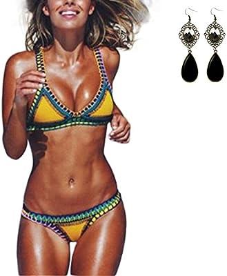 Sitengle Para Mujer Bikinis Conjuntos de Croché Dos Piezas Push Up Tejer Traje de Bañador de Neopreno Coloridos Beachwear Swimsuit Swimwear