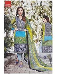 Libas Unstitched Suit (three Colour Pure Cotton Printed Suit With Chiffon Dupatta)