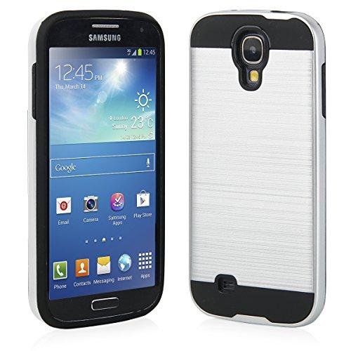 EGO® Hard Case Schutz Hülle für Samsung i9500 Galaxy S4, Silber Metallic Effect Aluminium Brushed Handy Cover Schale Bumper Etui Silber