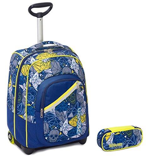 Seven Trolley Bambino Portapenne – Blu Giallo – Spallacci a Scomparsa! Zaino  35 LT Scuola ... 286b403ae9b